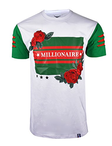 SCREENSHOTBRAND-S11847 Mens Hipster Hip-Hop Premium Tees - Stylish Longline Fashion Jersey T-Shirt Rose Embroidered Detailed-White-Large