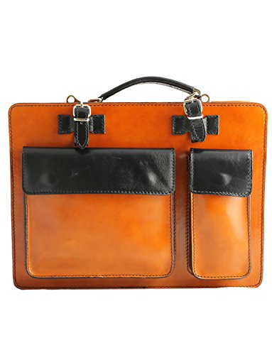 Black Italian Vacchetta And In Document Made Giglio Cowhide Crafted Italy With Tan Leather Tablet Briefcase Unisex Hand Classic Strap Style qwftH