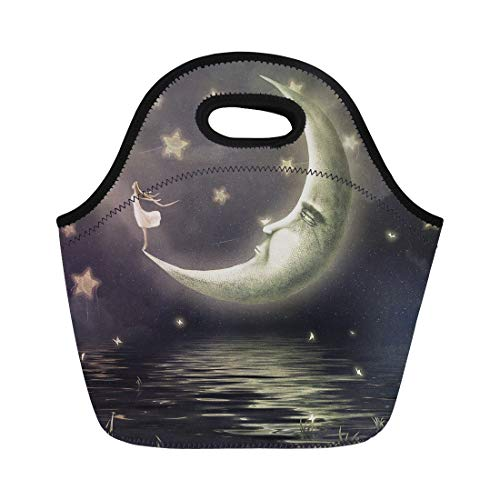 (Semtomn Neoprene Lunch Tote Bag Yellow Fairy the Shows Girl Who Admires Star Sky Reusable Cooler Bags Insulated Thermal Picnic Handbag for)