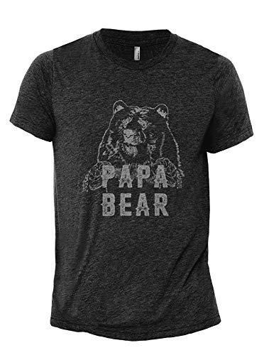 (Papa Bear Men's Modern Fit Fun Humor T-Shirt Printed Graphic Tee Charcoal Grey Large)