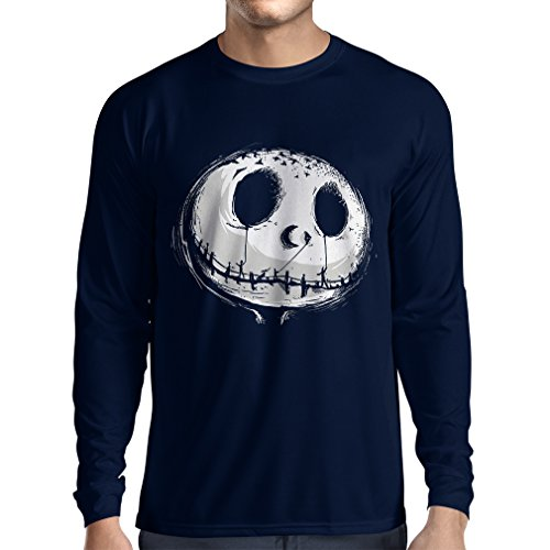 lepni.me Long Sleeve t Shirt Men Scary Skull Face - Nightmare - Halloween Outfit Party Costumes (Medium Blue Multi Color)]()