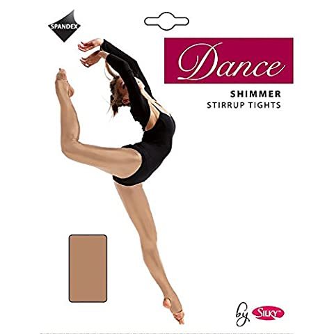 Silky Big Girls Dance Shimmer Stirrup Tights (1 Pair) (7-9 Years) (Toast) - Opaque Stirrup Tights