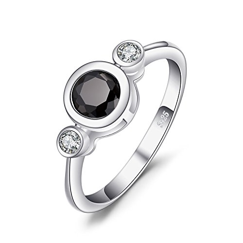 JewelryPalace Succinct 1.3ct Green Created Black Spinel Bezel Setting 3 Stone Ring 925 Sterling Silver Size (Silver Spinel Ring)