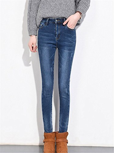 In Denim Pantalone Alta Pants Ragazzi Jeans Pantaloni Donna Caldo Addensare Dabag Inverno Stretti Scuro Tapered Vita Blu PzT0nq