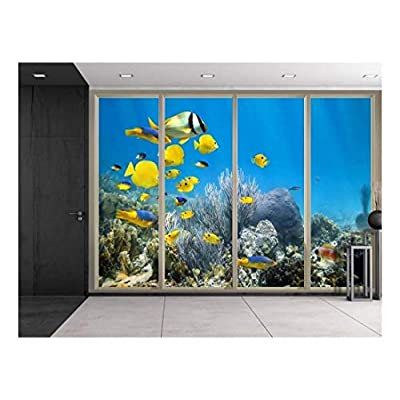 Yellow Fish Swimming Over Coral Reef Wall Decor...