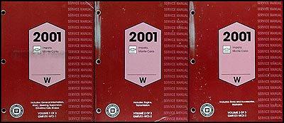 2001 Impala and Monte Carlo Repair Shop Manual Original 3 Volume Set