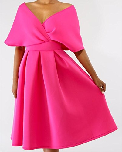V Pockets Neck Pleated Deep Dress Rose Sexy Backless Party Swing Women Domple HwCqxIBH