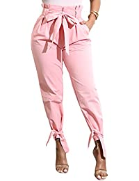 Women's Casual Loose High Waist Long Pencil Pants with...
