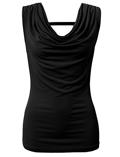 H2H Women's Cowl-Neck Tank Top of Tonal Seaming Black US L/Asia L ()