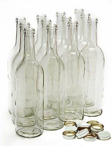 Home Brew Ohio 750 ml Clear Screw Cap Wine Bottles with 28 mm Metal Screw Caps, White