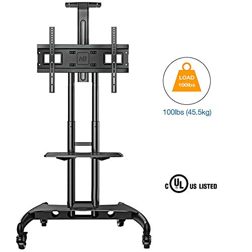 NB North Bayou Mobile TV Cart TV Stand with Wheels for 32 to 65 Inch LCD LED OLED Plasma Flat Panel Screens up to 100lbs AVA1500-60-1P (Black)
