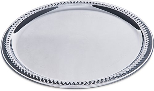 Carlisle 608905 Round Chrome Plated Gadroon Tray, - Gadroon Tray Embossed