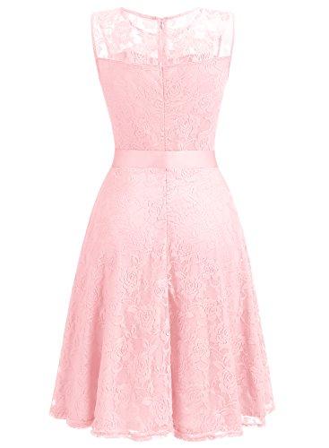 Dressystar Vestido Corto Verano De Encaje Para Madrina Fiesta Boda Con Cinturón Pink