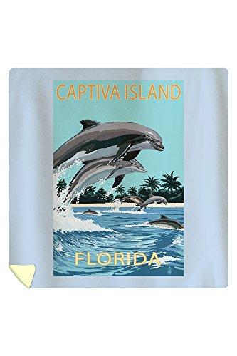 Lantern Press Captiva Island, Florida - Dolphins Swimming 46695 (88x88 Queen Microfiber Duvet Cover)