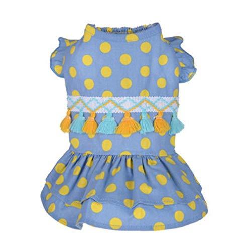 Jim-Hugh Pet Dress Spring and Summer Cute Dotted Tassel Dots Print Skirt Dog Cat Winter Warm Pink Costumes Clothes ()
