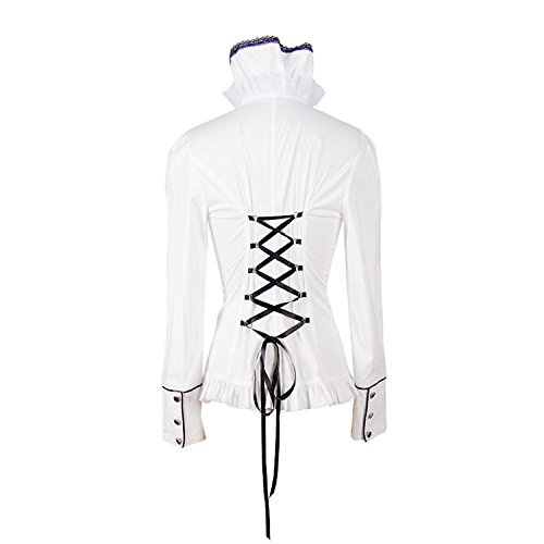 Devil Fashion Frauen Gothic Lolita Court Temperament Punk Stand Collar Langarm Shirt Casual T-Shirt Bluse Tops, 7 Gr??en