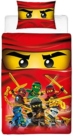 Lego Ninjago Collective Design Single Duvet Cover | Reversible Two Sided Bedding Featuring Master Builder Llyod, with Matching Pillow Case, Multi ...
