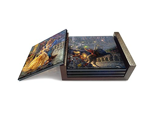 Disney's Beauty and the Beast StarFire Prints Glass Coaster Set (4 Piece with holder) - Thomas Kinkade - Piece Glass Four Coaster