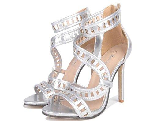 YCMDM donne popolari oro e argento sandali scarpe col tacco alto 2017 nuovi europei e americani , silver , 38