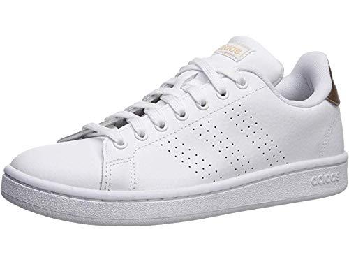 adidas Women's Cloudfoam Advantage Cl Sneaker, White/White/Copper Metallic, 9