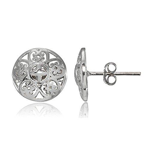 Sterling Silver Vintage Round Filigree Stud Earrings