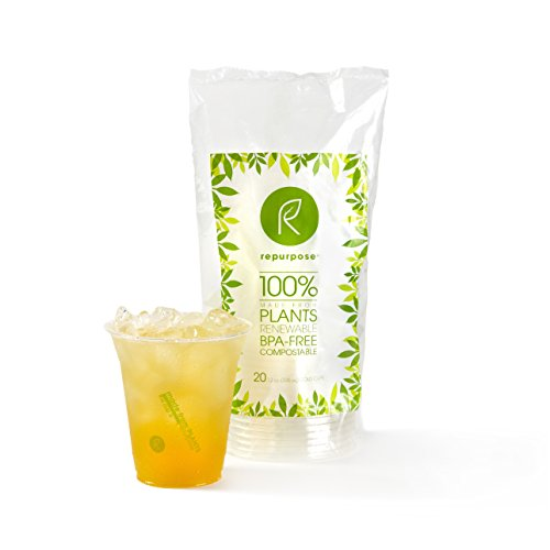 Repurpose 100% Compostable Plant Based Clear Cold Cup | 12 Ounce Party Cups | 20 Cups ...