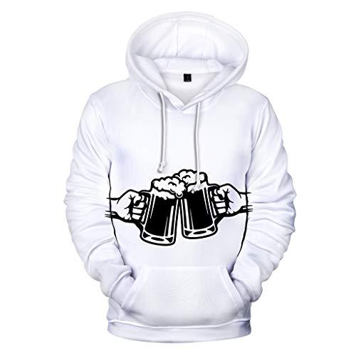 NIUQI Men's Beer Festival 3D Printing Long Sleeve Hoodies Sweatershirt Tops White
