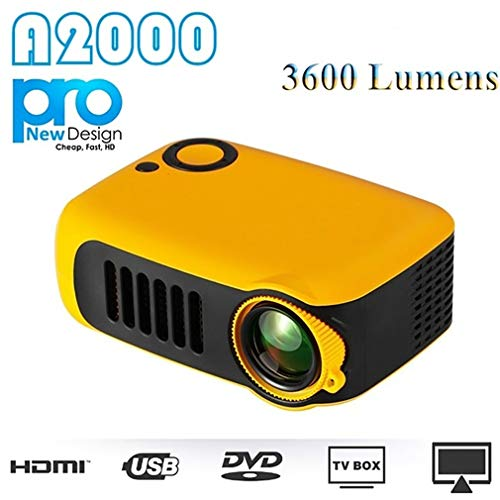Portable 1080P HD Mini Projector Home Theater Movie Multimedia Video 2 LCD Support HDMI/USB/SD Card/Laptops (US Plug…