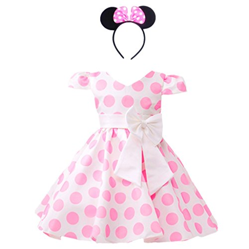 DreamHigh Girls Toddlers Polka Dot Skirt Cap Sleeves Flowers Girl Vintage Bow Dress with Headband Pink 2T -