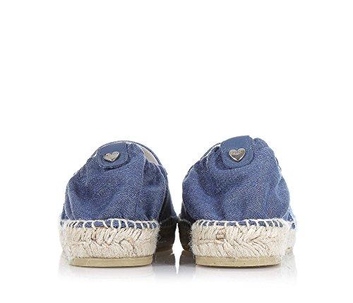 TWIN-SET - Blaue Espadrilles aus Denim, phantasievoll und modisch, elastischer Saum, af der Vorderseite Strass, Mädchen, Damen-32