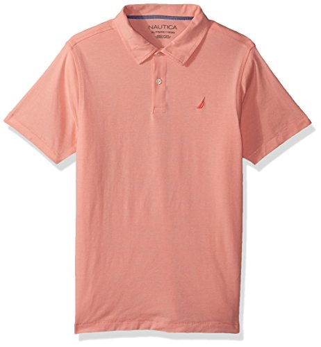 Nautica Boys' Little Soft Stretch Solid Polo, Peach, 5/6 (Peach Shirt For Boys)