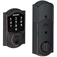 Schlage Z-wave Connect Camelot Touchscreen Deadbolt with Extra Key, Works with Alexa via SmartThings, Wink etc., Aged Bronze, BE468-716-2KA