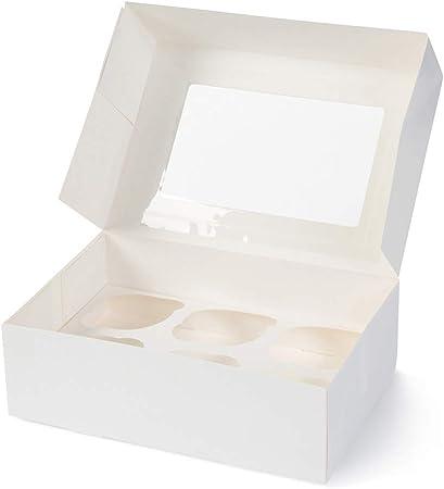 BIOZOYG Cajas para 6 Magdalenas, Cupcake Muffin con Inserto y Ventana de visión Grande I 25