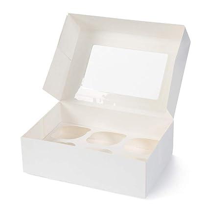 BIOZOYG Cajas para 6 Magdalenas, Cupcake Muffin con Inserto y Ventana de visión Grande I