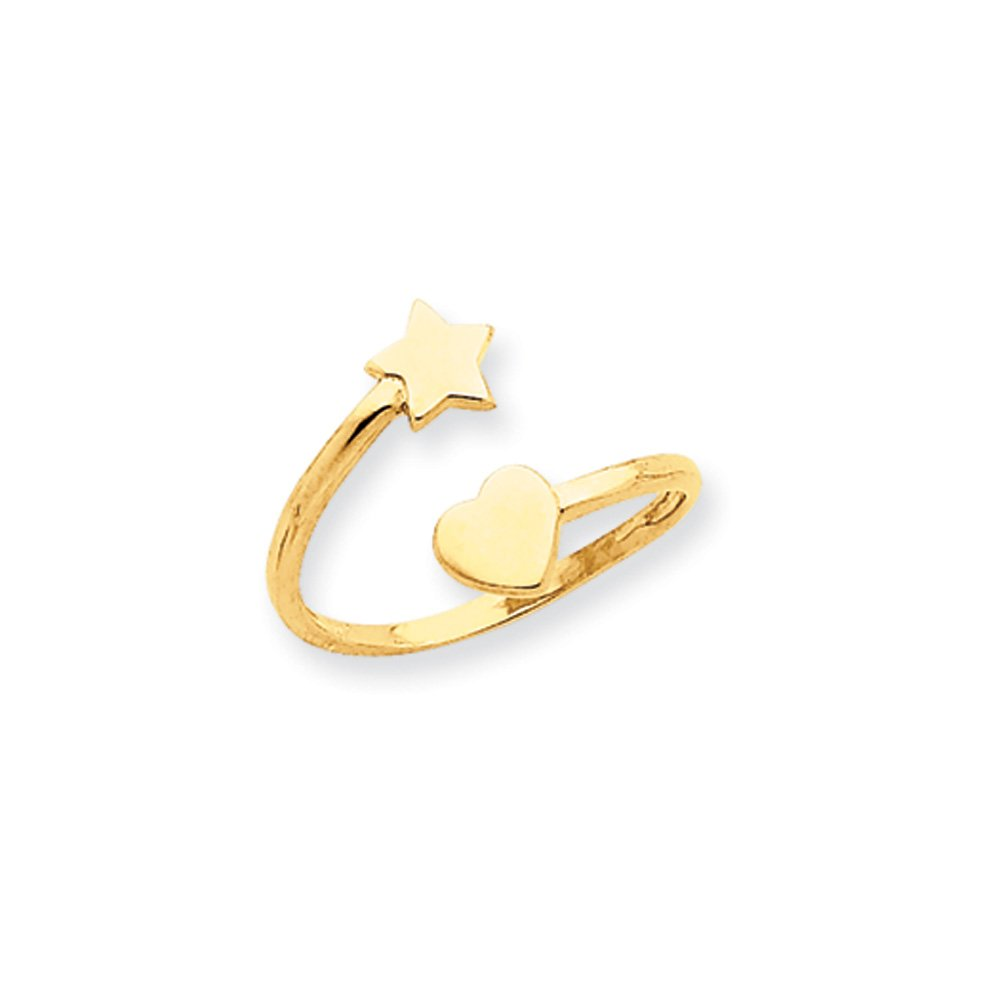 Heart and Star Toe Ring in 14 Karat Gold