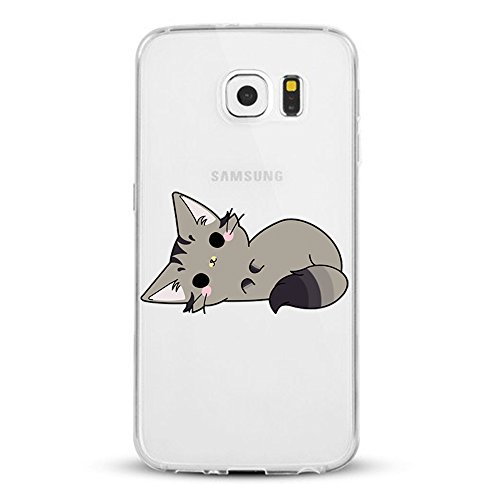 Caler Coque Samsung Galaxy S6/S6 Edge, Transparent Ultra mince Housse Etui Coque Anti-choc de Protection Flexible Silicone Souple TPU Intéressant Design (Chat, Samsung Galaxy S6)
