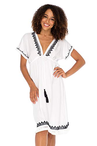 - Back From Bali Womens Boho V Neck Beach Dress Loose Fit Casual Embroidered Tunic Sundress Swimsuit Cover Up White X-Large