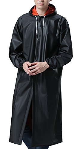 QZUnique Men's Hooded PVC Soft Raincoat Outdoor Waterproof Workwear Fishing Jacket With Cuff Black - Shipping Time International