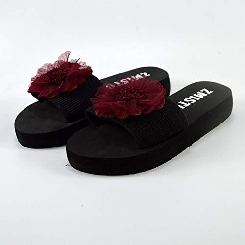De Relajadas Mujer Planas Rosa Cuña Sandalias Transpirables Playa Brillante Hosaylike Verano Chanclas Zapatillas wqUC5T