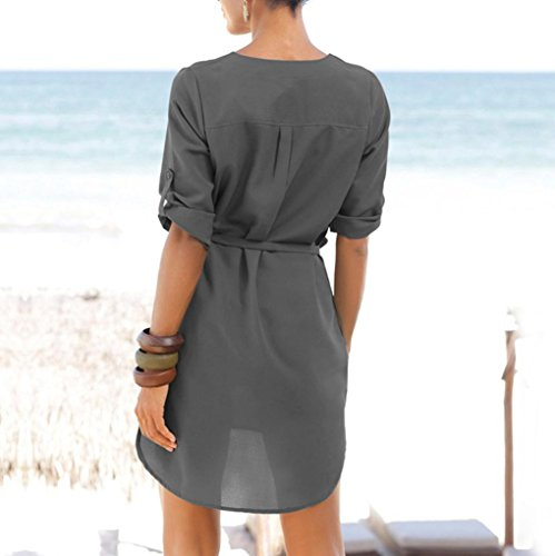 Solid Women's 1 Pocket Irregular Sleeved KIMODO V 2 Dress Beach Lace Gray Hem Neck up 4A8qdw5
