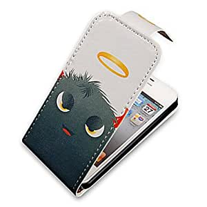 Fur Monster Up-Down Turn Over PU Leather Full Bady Case for iPhone 4/4S