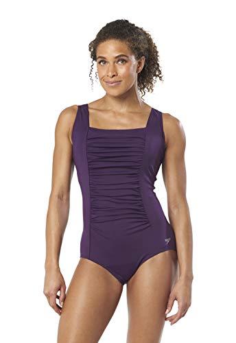 Speedo Women's Solid Shirred Tank Endurance+ One Piece Swimsuit with Built-in Bra, Purple, 10