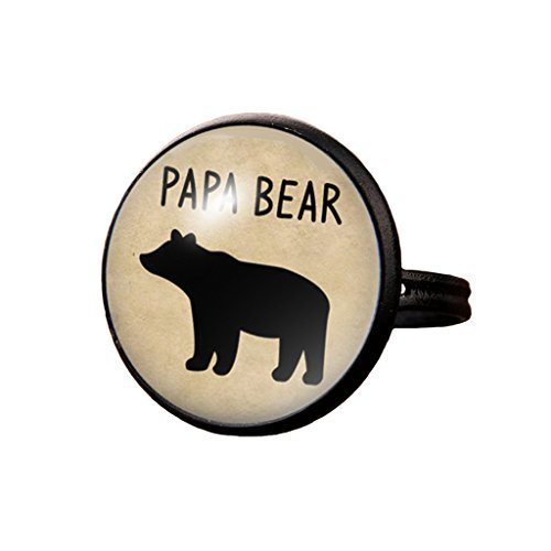 Glass Dome Ring - Papa Bear Ring Bear Cubs Ellie and Jay Glass Dome Adjustable Ring Father's Gift (Style 5)