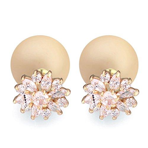 Vintage Ball Gold - Vintage Yellow Pearl Earring AAA Zirconic Stud Earrings