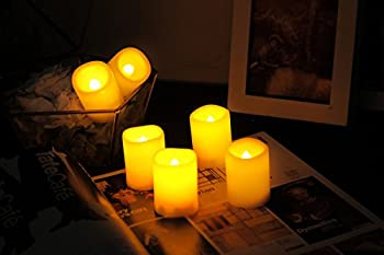 """Candle Choice 6 PCSFlameless Votive Candles with Timer, LED Votives, Battery Operated Votives with Timer, Realistic Flickering, Long Battery Life, 400+ Hour / CR2450 Battery, Size 1.5""""(D)x2""""(H)"""
