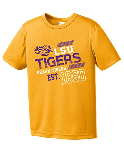 Tigers Basketball Ncaa Lsu (Image One NCAA LSU Tigers Youth Boys Offsides Short sleeve Polyester Competitor T-Shirt, Youth Medium,Gold)