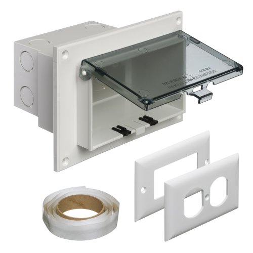- Arlington DBHR1C-1 Low Profile IN BOX Electrical Box with Weatherproof Cover for Flat Surface Retrofit Construction, 1-Gang, Horizontal, Clear