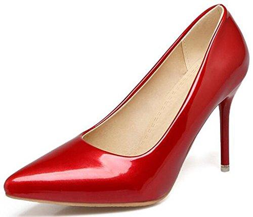 Idifu Donna Classica Scarpe A Punta Tacco Alto Tacco Alto Slip On Pumps Club Shoes Rosso
