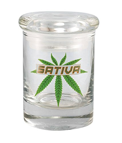 1/8oz Sativa Leaf Glass Jar By Cannaline