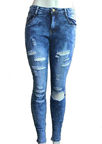 Tienew Pantaloni Sigaretta Pantaloni Hole Strappati jeans Lunghi Distrutti Denim Jeans Straight Boyfriend In Donna Da vCHXnqvwr